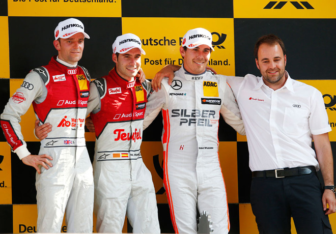 DTM - Lausitzring 2016 - Carrera 1 - Jamie Green - Miguel Molina - Robert Wickens en el Podio