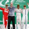 F1 - Canada 2016 - Carrera - Sebastian Vettel - Lewis Hamilton - Valtteri Bottas en el Podio