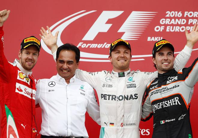 F1 - GP de Europa - Baku 2016 - Carrera - Kimi Raikkonen - Nico Rosberg - Sergio Perez en el Podio