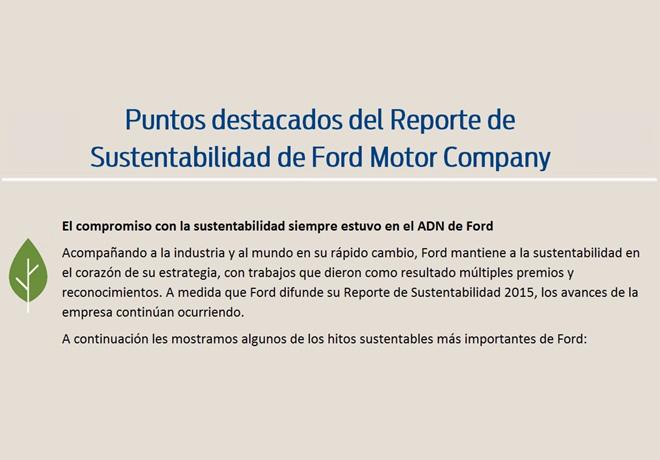 Reporte de Sustentabilidad de Ford, donde destaca el ahorro de consumo de agua y producción de CO2.