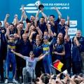 Formula E - Londres - Inglaterra 2016 - Carrera 2 - Nicolas Prost - Sebastian Buemi y el equipo eDams en el Podio