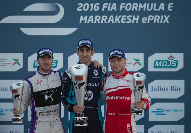 formula-e-marrakesh-marruecos-2016-sam-bird-sebastien-buemi-felix-rosenqvist-en-el-podio