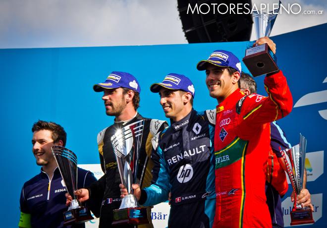 Formula E - Buenos Aires - Argentina 2017 - Carrera - Jean-Eric Vergne - Sebastien Buemi - Lucas di Grassi en el Podio