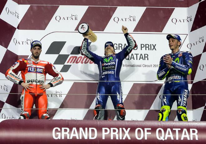 MotoGP - Qatar 2017 - Andrea Dovizioso - Maverick Vinales - Valentino Rossi en el Podio