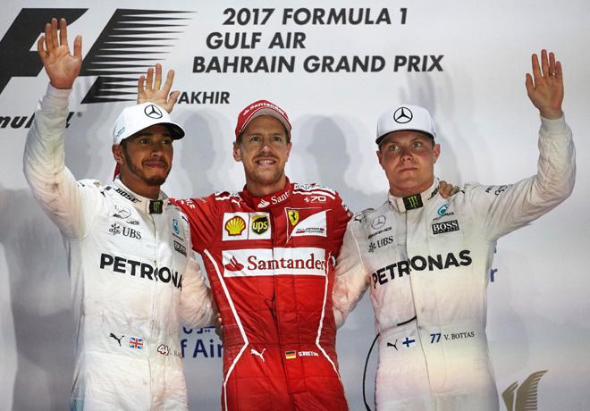 F1 - Bahrein 2017 - Carrera - Lewis Hamilton - Sebastian Vettel - Valtteri Bottas en el Podio