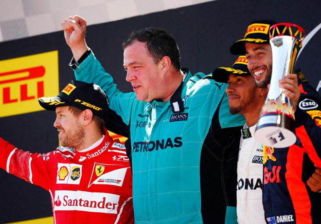 F1 - Espana 2017 - Carrera - Sevastian Vettel - Lewis Hamilton - Daniel Ricciardo en el Podio