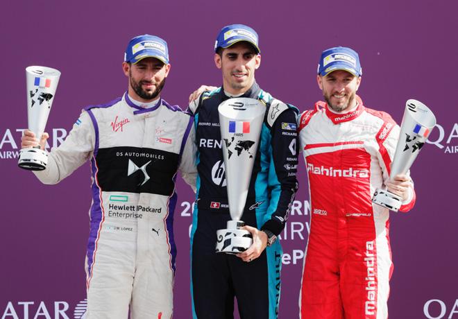 Formula E - Paris - Francia 2017 - Jose Maria Lopez - Sebastien Buemi - Nick Heidfeld en el Podio