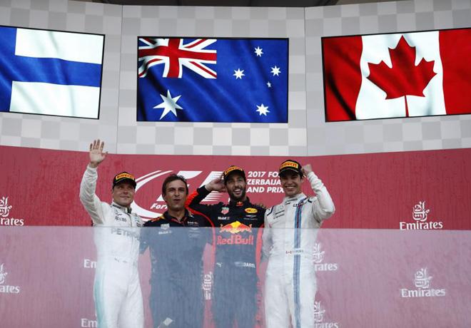 F1 - Azerbaiyan 2017 - Carrera - Valtteri Bottas - Daniel Ricciardo - Lance Stroll en el Podio