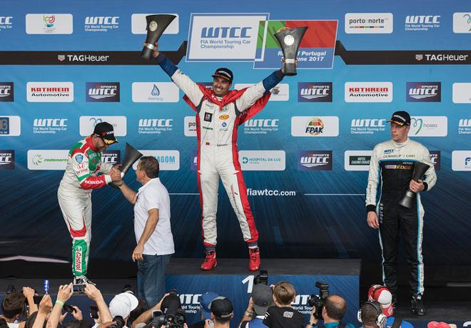 WTCC - Vila Real - Portugal 2017 - Carrera 1 - Tiago Monteiro - Mehdi Bennani - Thed Bjork en el Podio
