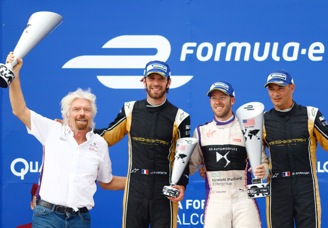 Formula E - Nueva York 2017 - Carrera 1 - Richar Branson - Jean-Eric Vergne - Sam Bird - Stephane Sarrazin en el Podio