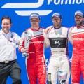 Formula E - Nueva York 2017 - Carrera 2 - Felix Rosenqvist - Sam Bird - Nick Heidfeld en el Podio copia
