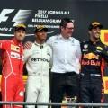 F1 - Belgica 2017 - Carrera - Sebastian Vettel - Lewis Hamilton - Daniel Ricciardo en el Podio