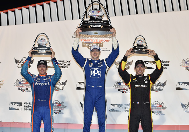 IndyCar - Gateway 2017 - Carrera - Scott Dixon - Josef Newgarden - Simon Pagenaut en el Podio