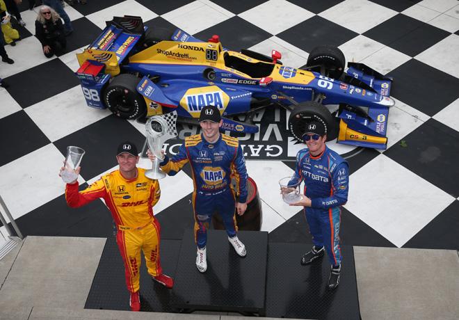 IndyCar - Watkins Glen 2017 - Carrera - Ryan Hunter-Reay - Alexander Rossi - Scott Dixon en el Podio