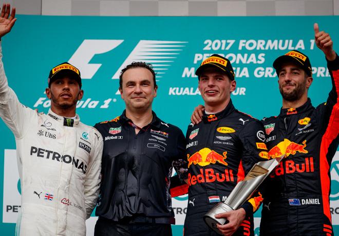 F1 - Malasia 2017 - Carrera - Lewis Hamilton - Max Verstappen - Daniel Ricciardo en el Podio