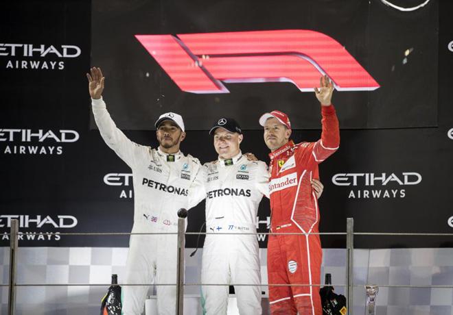 F1 - Abu Dhabi 2017 - Carrera - Lewis Hamilton - Valtteri Bottas - Sebastian Vettel en el Podio