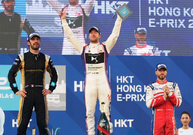 Formula E - Hong Kong - China 2017 - Carrera 1 - Jean-Eric Vergne - Sam Bird - Nick Heidfeld en el Podio
