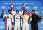 WTCC - Losail - Qatar 2017 - Carrera 1 - Mehdi Bennani - Tom Chilton - Kevin Gleason en el Podio