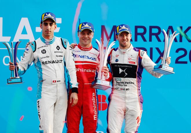 Formula E - Marrakech - Marruecos 2018 - Carrera - Sebastien Buemi - Felix Rosenqvist - Sam Bird en el Podio
