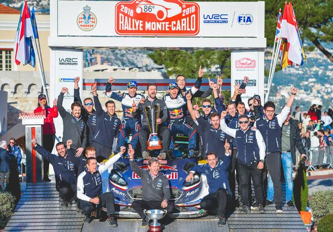WRC - Monaco 2018 - Final - Sebastien Ogier y el equipo M-Sport en el Podio