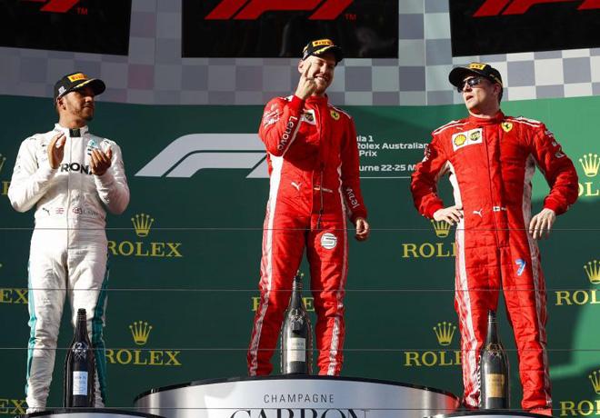 F1 - Australia 2018 - Carrera - Lewis Hamilton - Sebastian Vettel - Kimi Raikkoinen en el Podio