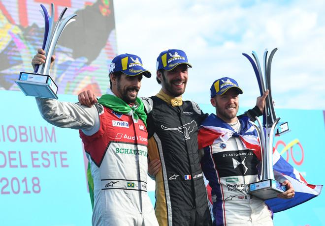 Formula E - Punta del Este - Uruguay 2018 - Carrera - Lucas di Grassi - Jean-Eric Vergne - Sam Bird en el Podio