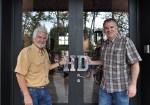Juan Gabba y Matthew Levatich en el local de Harley-Davidson de Buenos Aires