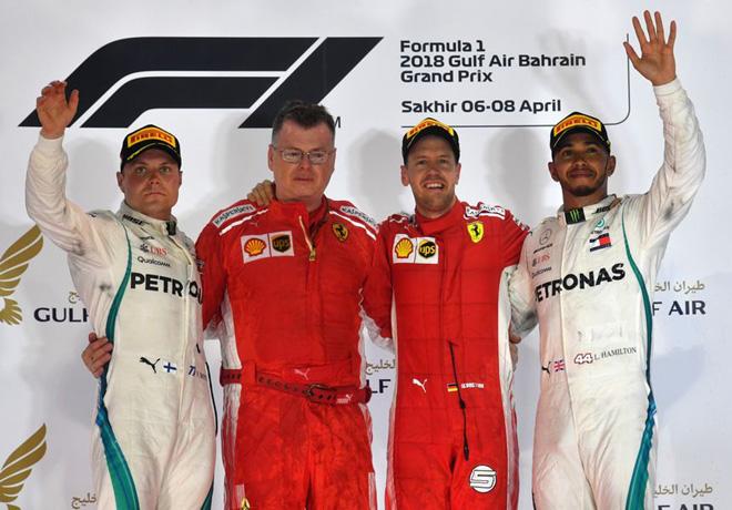 F1 - Bahrein 2018 - Carrera - Valtteri Bottas - Sebastian Vettel - Lewis Hamilton en el Podio