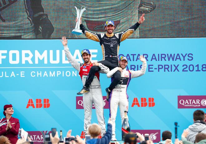 Formula E - Paris - Francia 2018 - Carrera - Lucas di Grassi - Jean-Eric Vergne - Sam Bird en el Podio