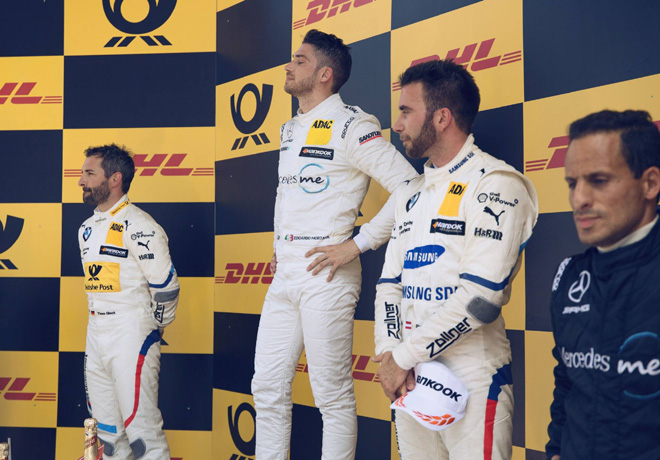 DTM - Lausitzring 2018 - Carrera 1 - Timo Glock - Edoardo Mortara - Philipp Eng en el Podio