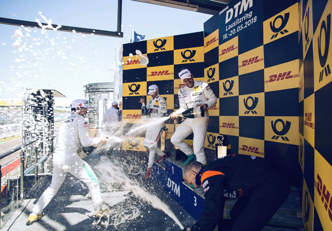 DTM - Lausitzring 2018 - Carrera 2 - Pascal Wehrlein - Marco Wittmann - Gary Paffett en el Podio