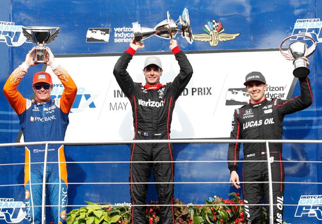 IndyCar - Indianapolis 2018 - Carrera - Scott Dixon - Will Power - Robert Wickens en el Podio