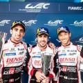 WEC - 6 hs de Spa-Francorchamps 2018 - Sebastien Buemi - Fernando Alonso - Kazuki Nakajima en el Podio