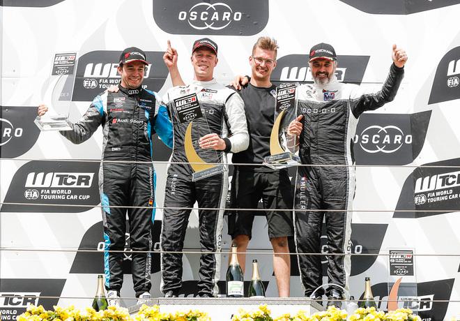 WTCR - Nurburgring - Alemania 2018 - Carrera 3 - Frederic Vervisch - Thed Bjork - Yvan Muller en el Podio