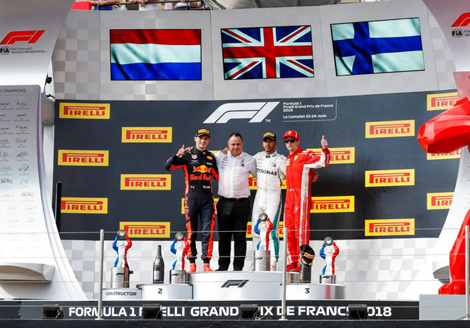 F1 - Francia 2018 - Carrera - Max Verstappen - Lewis Hamilton - Kimi Raikkonen en el Podio