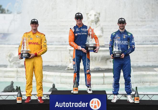 IndyCar - Detroit 2017 - Carrera 1 - Ryan Hunter-Reay - Scott Dixon - Alexander Rossi en el Podio