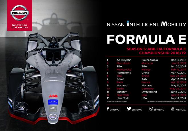 Nissan Formula E - Calendario de la 5ta temporada