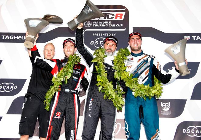 WTCR - Vila Real - Portugal 2018 - Carrera 1 - Esteban Guerrieri - Yvan Muller - Pepe Oriola en el Podio