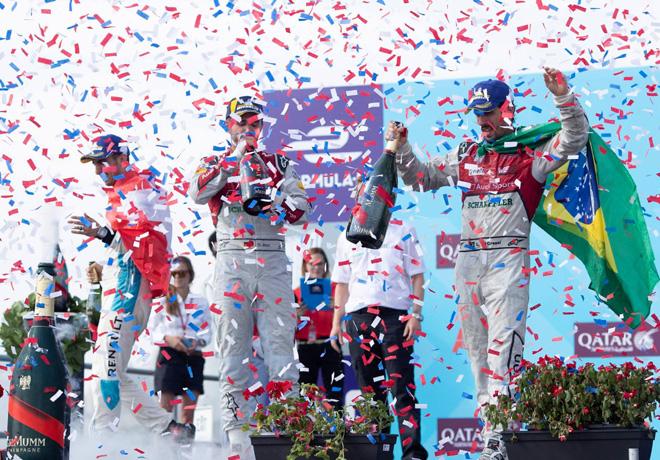 Formula E - Nueva York 2018 - Carrera 1 - Sebastien Buemi - Daniel Abt - Lucas di Grassi en el Podio