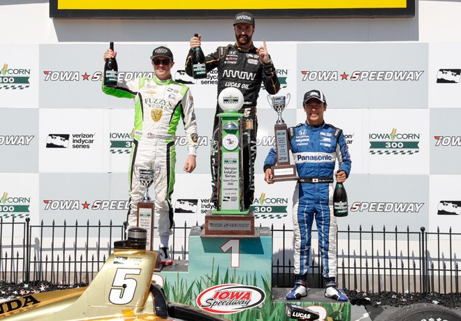 IndyCar - Iowa 2018 - Carrera - Spencer Pigot - James Hinchcliffe - Takuma Sato en el Podio