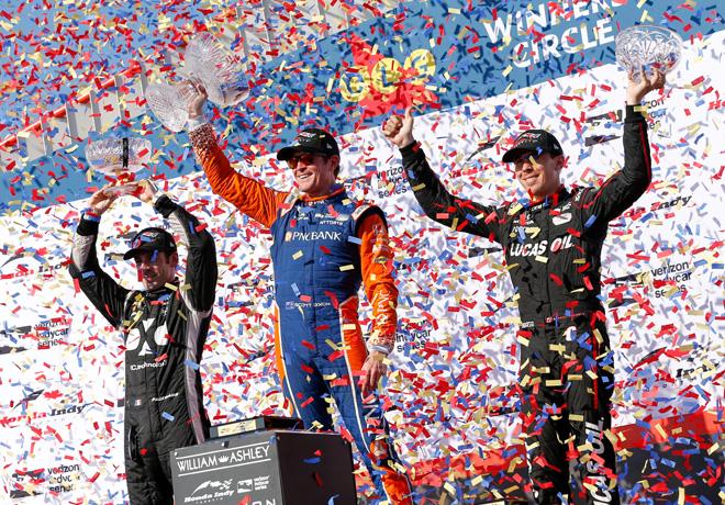 IndyCar - Toronto 2018 - Carrera - Simon Pagenaud - Scott Dixon - Robert Wickens en el Podio