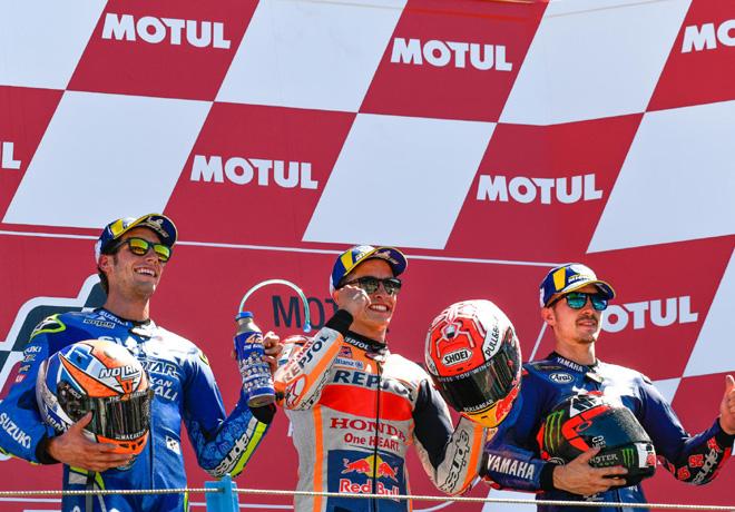 MotoGP - Assen 2018 - Alex Rins - Marc Marquez - Maverick Vinales en el podio