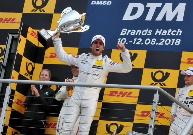 DTM - Brands Hatch 2018 - Carrera 1 - Augusto Farfus - Daniel Juncadella - Lucas Auer en el Podio