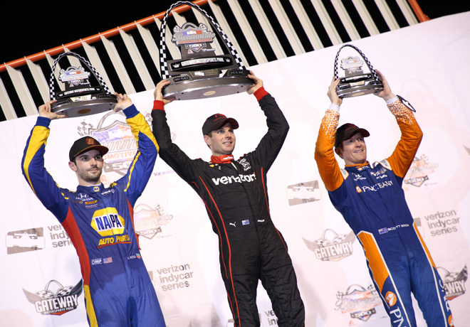 IndyCar - Gateway 2018 - Carrera - Alexander Rossi - Will Power - Scott Dixon en el Podio