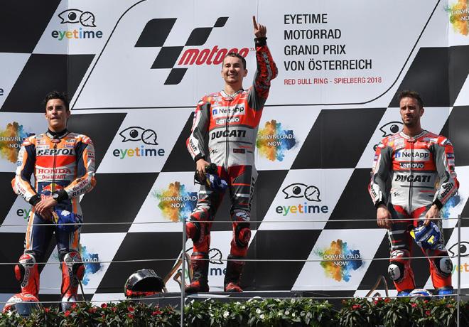MotoGP - Spielberg 2018 - Marc Marquez - Jorge Lorenzo - Andrea Dovizioso en el Podio