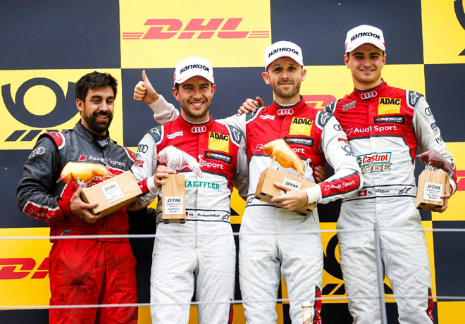 DTM - Spielberg 2018 - Carrera 1 - Mike Rockenfeller - Rene Rast - Nico Muller en el Podio