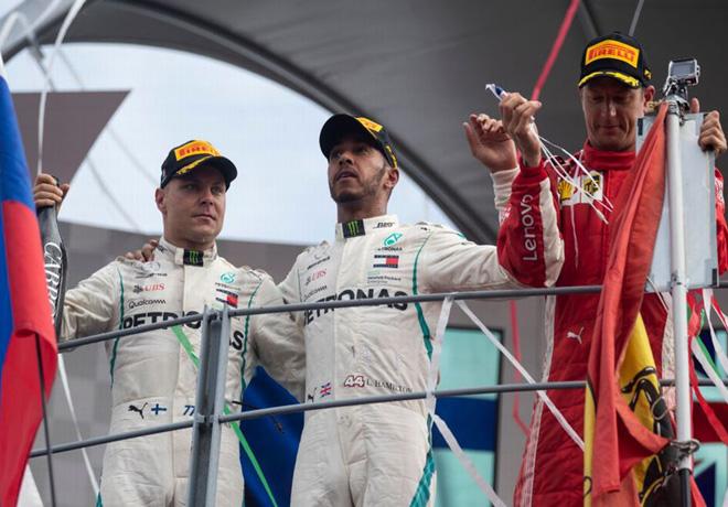 F1 - Italia 2018 - Carerra - Valtteri Bottas - Lewis Hamilton - Kimi Raikkoinen en el Podio