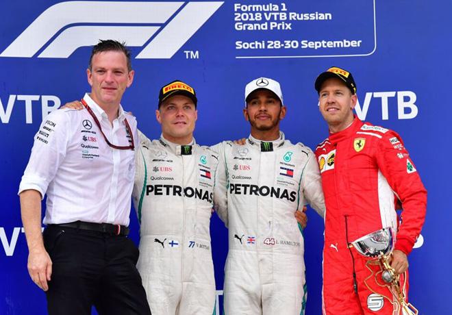 F1 - Rusia 2018 - Carrera - Valtteri Bottas - Lewis Hamilton - Sebastian Vettel en el Podio