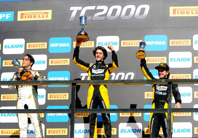 TC2000 - San Martin - Mendoza 2018 - Carrera Sprint - Sebastian Peluso - Nicolas Dapero - Rodrigo Lugon en el Podio