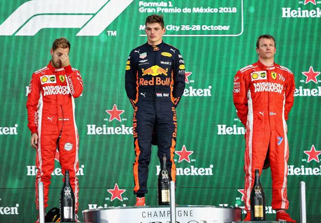 F1 - Mexico 2018 - Carrera - Sebastian Vettel - Max Verstappen - Kimi Raikkoinen en el Podio
